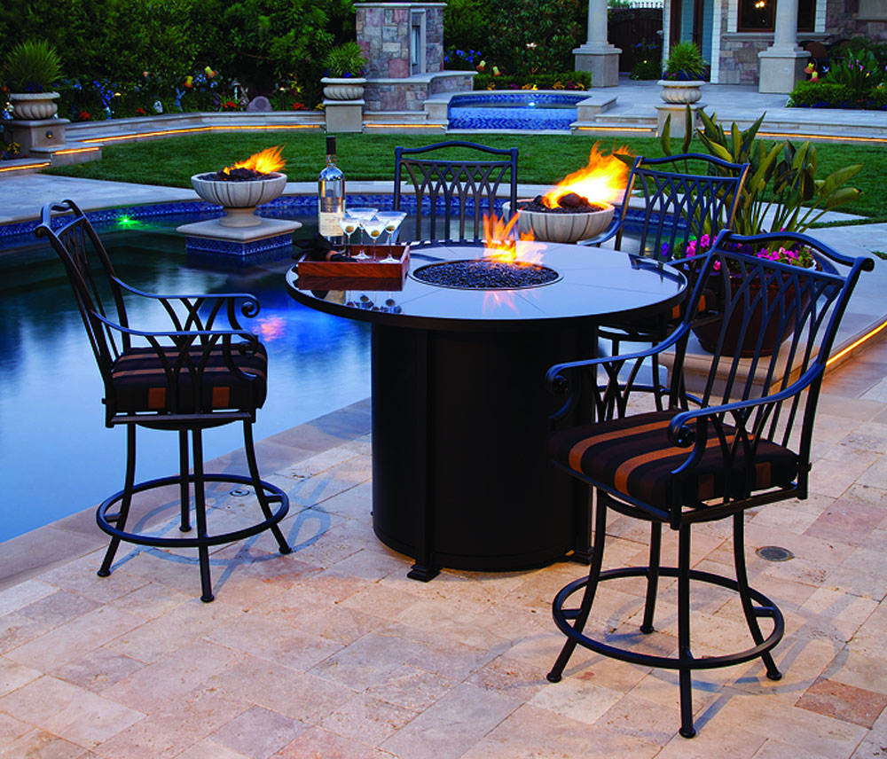 Mallin Bar Height Fire Pit Leisure In Montana - Outdoor pub table fire pit